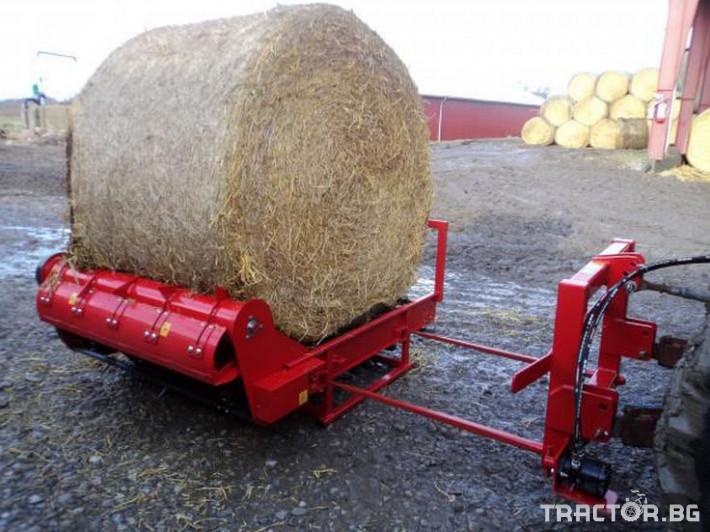 Машини за ферми Навесно устройство за разхвърляне на постеля и хранене, от ролонни бали.HE-VA RONDO-DAN 1