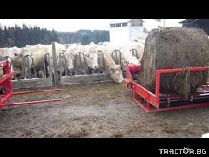 Машини за ферми Навесно устройство за разхвърляне на постеля и хранене, от ролонни бали.HE-VA RONDO-DAN 5
